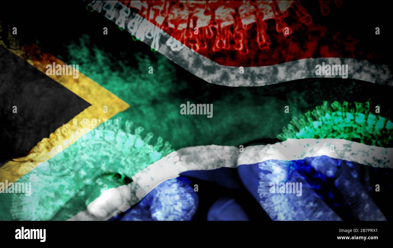South Africa Flag Infected With Coronavirus With Hands On A Teenager S Forehead Despair And Fear Of Contagion Stock Photo Alamy