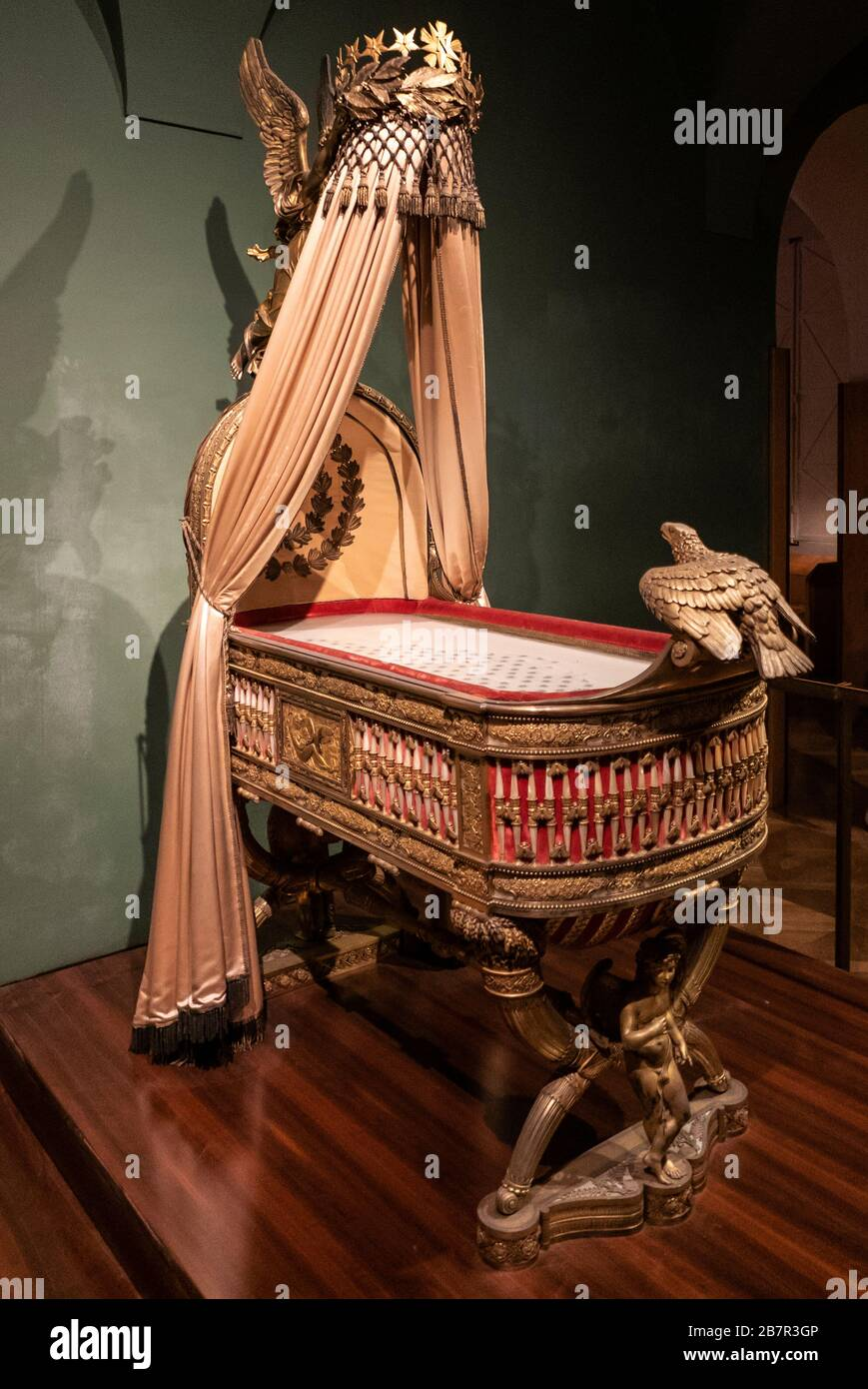 The cradle of the King of Rome (1811 - 1832), heir to Emperor Napoleon Bonaparte and Empress Marie Louise, now in the Hofburg,Vienna. Stock Photo
