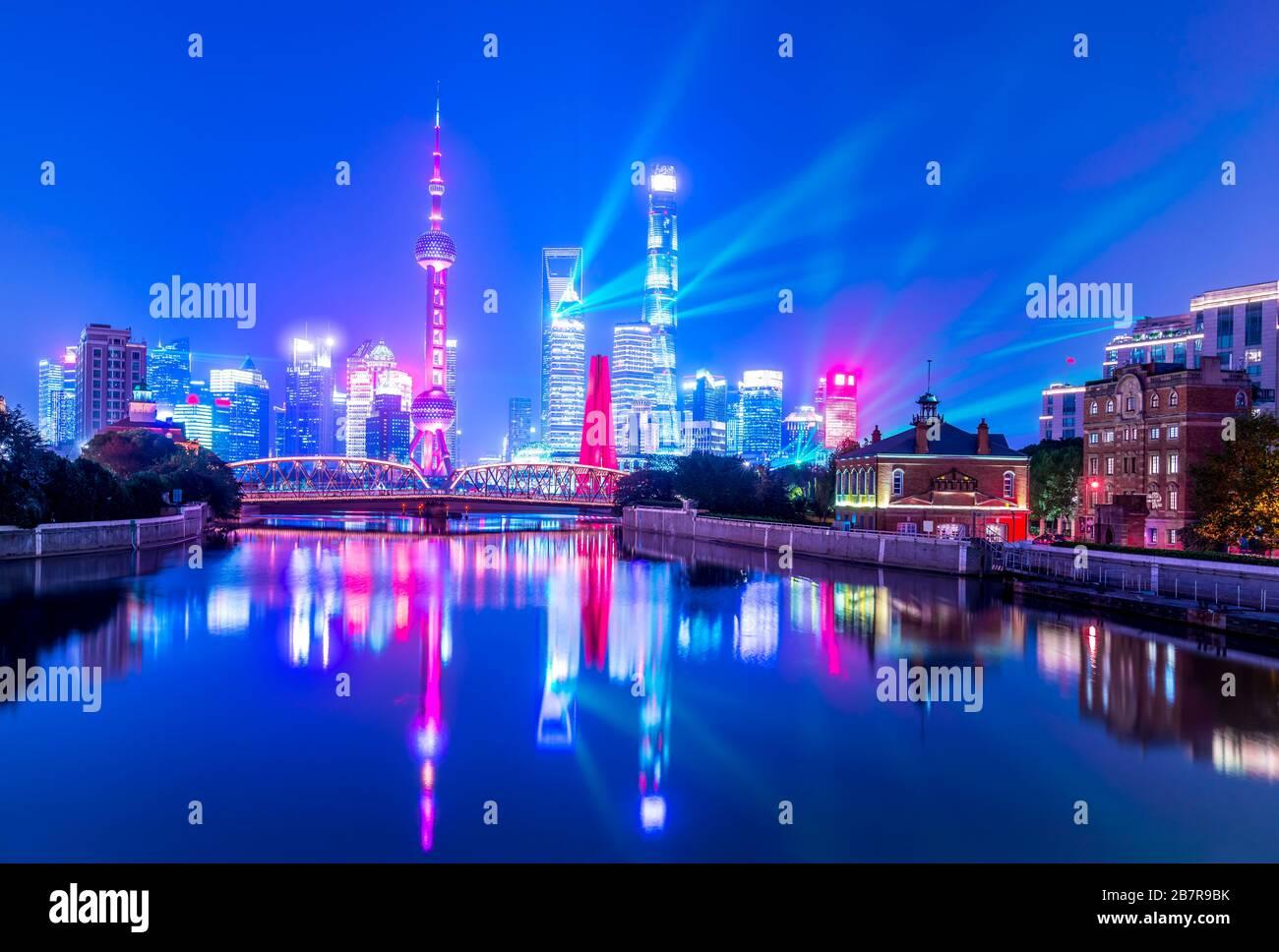 Shanghai Lujiazui skylines at night, China Stock Photo