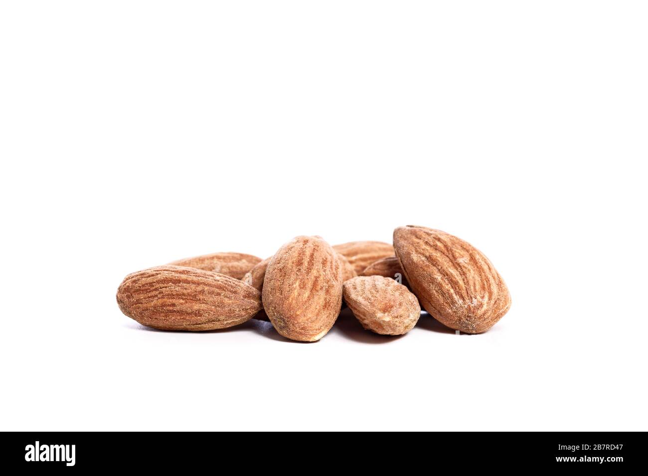 Salted almonds on a white background Stock Photo