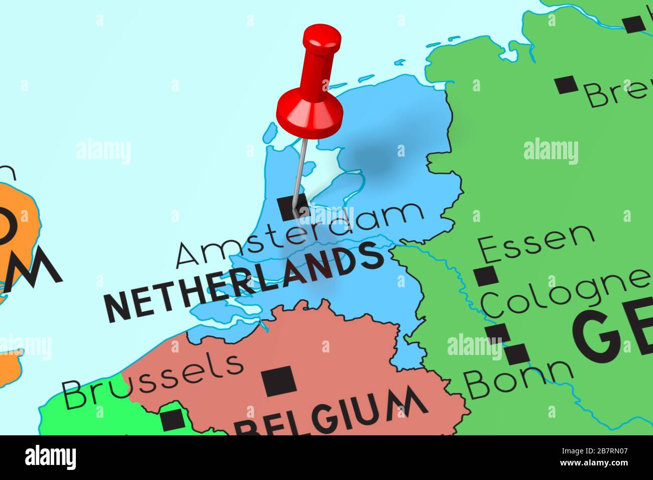 amsterdam map of europe Amsterdam Pinned On Map Europe High Resolution Stock Photography