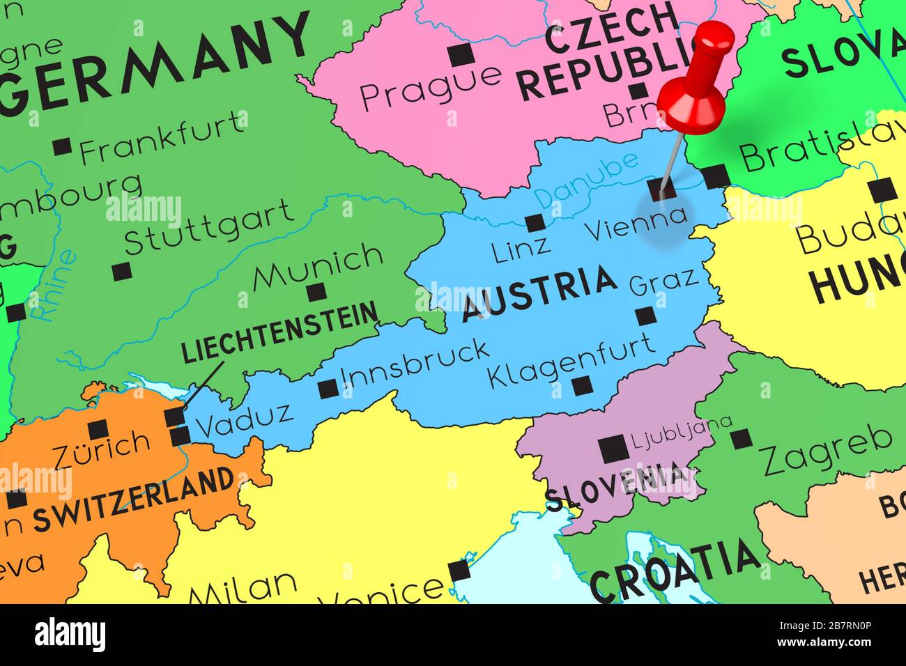 Image of: Austria Vienna Capital City Pinned On Political Map Stock Photo Alamy