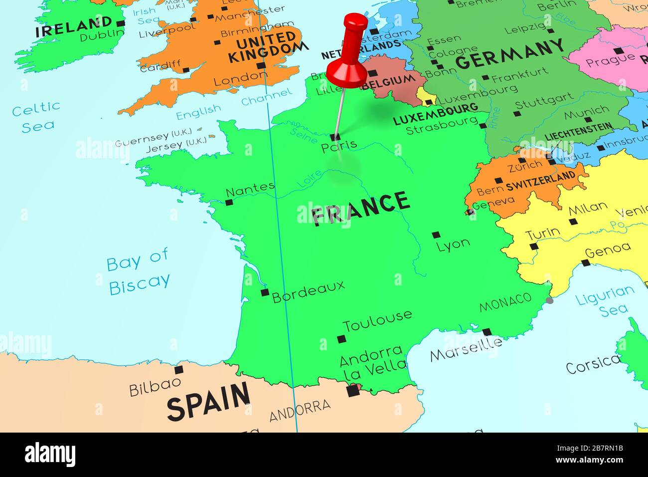 Image of: France Paris Capital City Pinned On Political Map Stock Photo Alamy