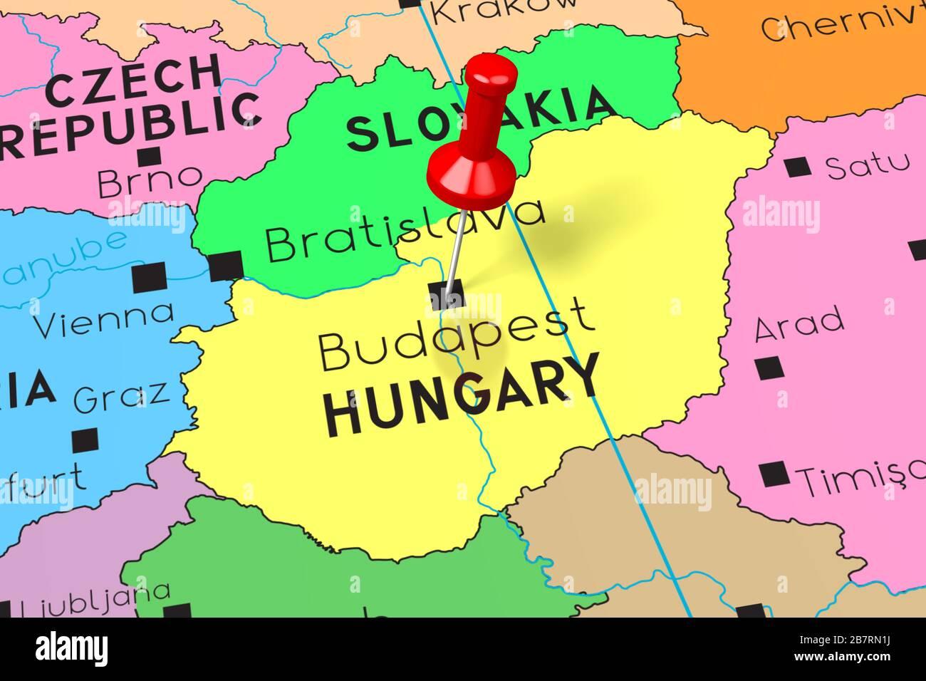 Image of: Hungary Budapest Capital City Pinned On Political Map Stock Photo Alamy