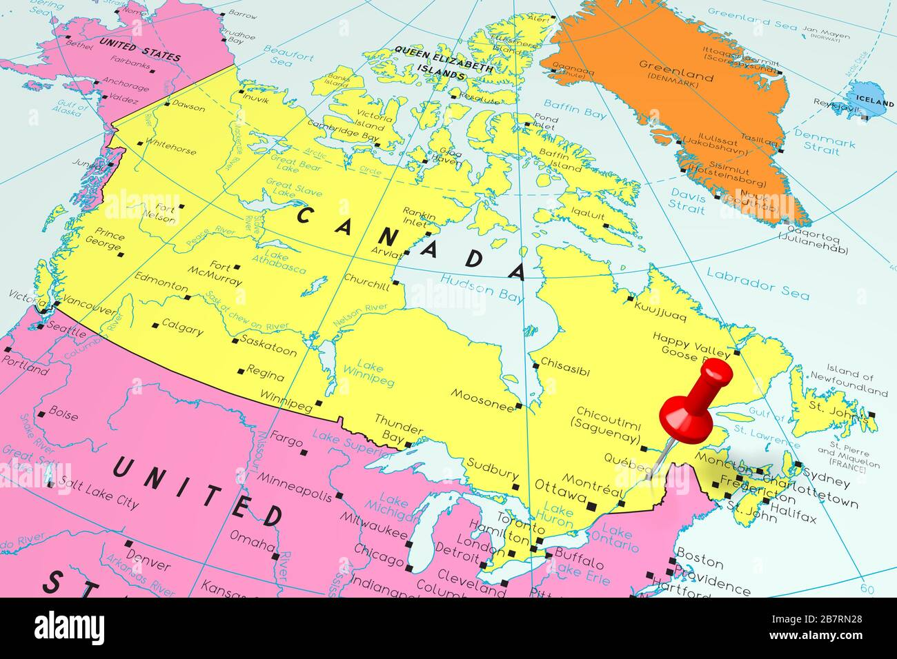 Map Of Canada_qubec Canada, Quebec   capital city, pinned on political map Stock Photo