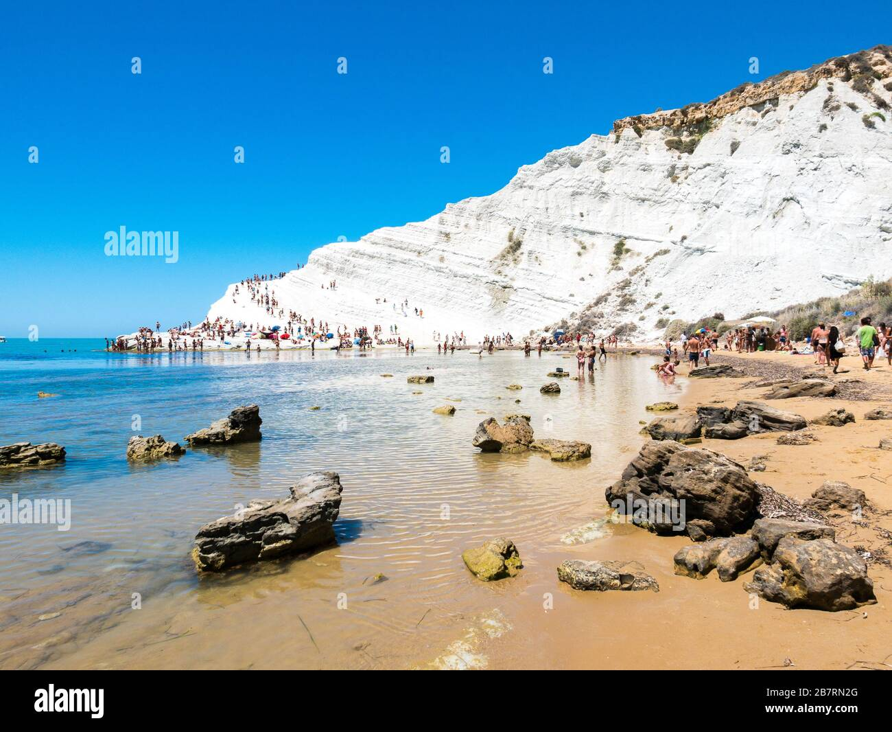 Stairs of the Turks Scala dei Turchi with people climbing ...