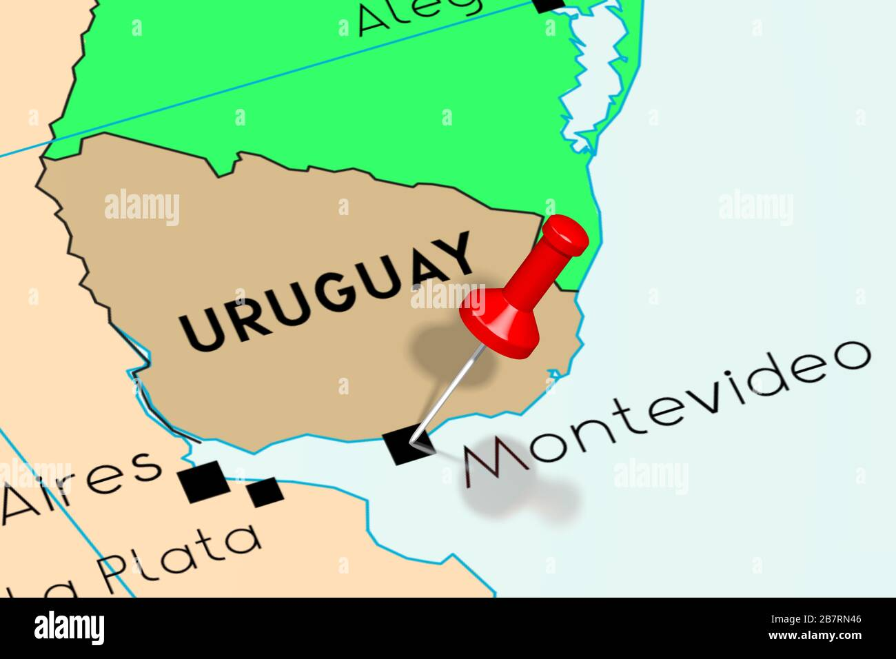 Image of: Uruguay Montevideo Capital City Pinned On Political Map Stock Photo Alamy