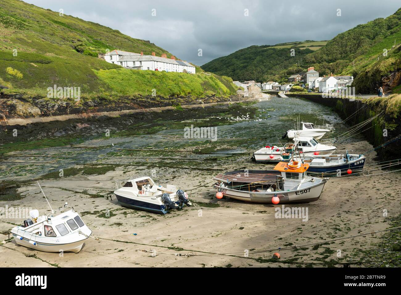 A natural inlet forms the harbour for the fishing port of Boscastle in Cornwall, England, UK. Stock Photo