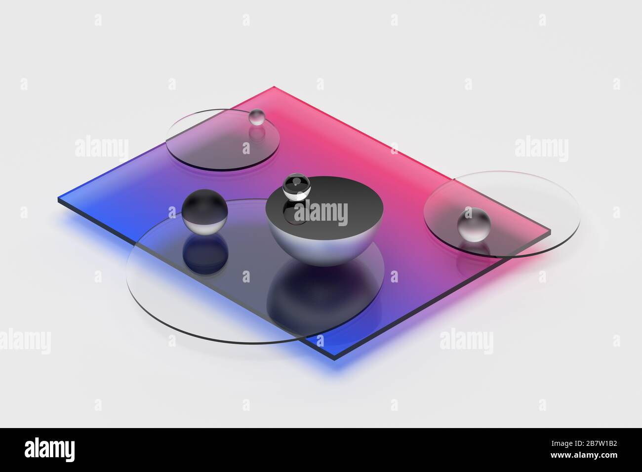 Abstract 3d rendering of geometric shapes. Composition with spheres. Modern background design for poster, cover, branding, banner, placard. Stock Photo