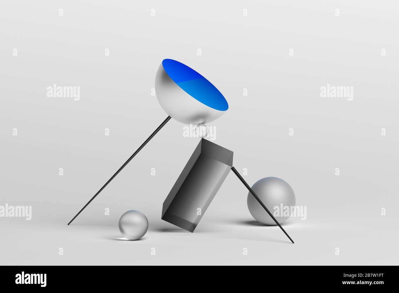 Abstract 3d rendering of geometric shapes. Surreal composition. Balance concept. Modern design for poster, cover, branding, banner, placard Stock Photo