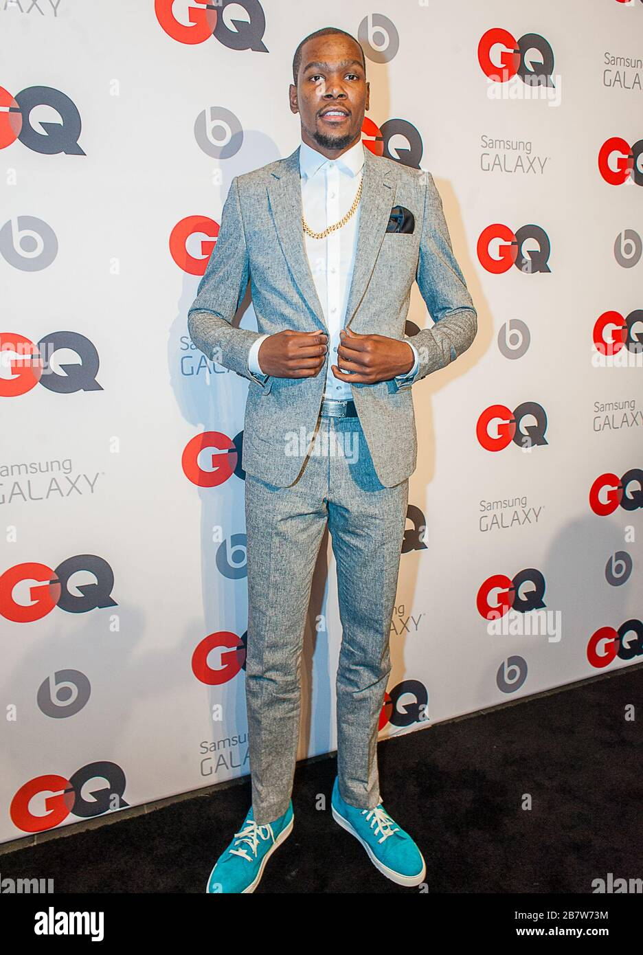 ***FILE PHOTO*** Kevin Durant Among Four Nets NBA Players With Coronavirus. NEW ORLEANS, LA - FEBRUARY 15: NBA Player Kevin Durant (Oklahoma City Thunders) posing at the GQ & Lebron James NBA All Star Style party sponsored by Samsung Galaxy on Saturday, February 15, 2014, at the Ogden Museum of Southern Art in New Orleans, Louisiana with live jam session from grammy Award-winning Artist The Roots. Photo Credit:RTNEscanelle/MediaPunch Stock Photo