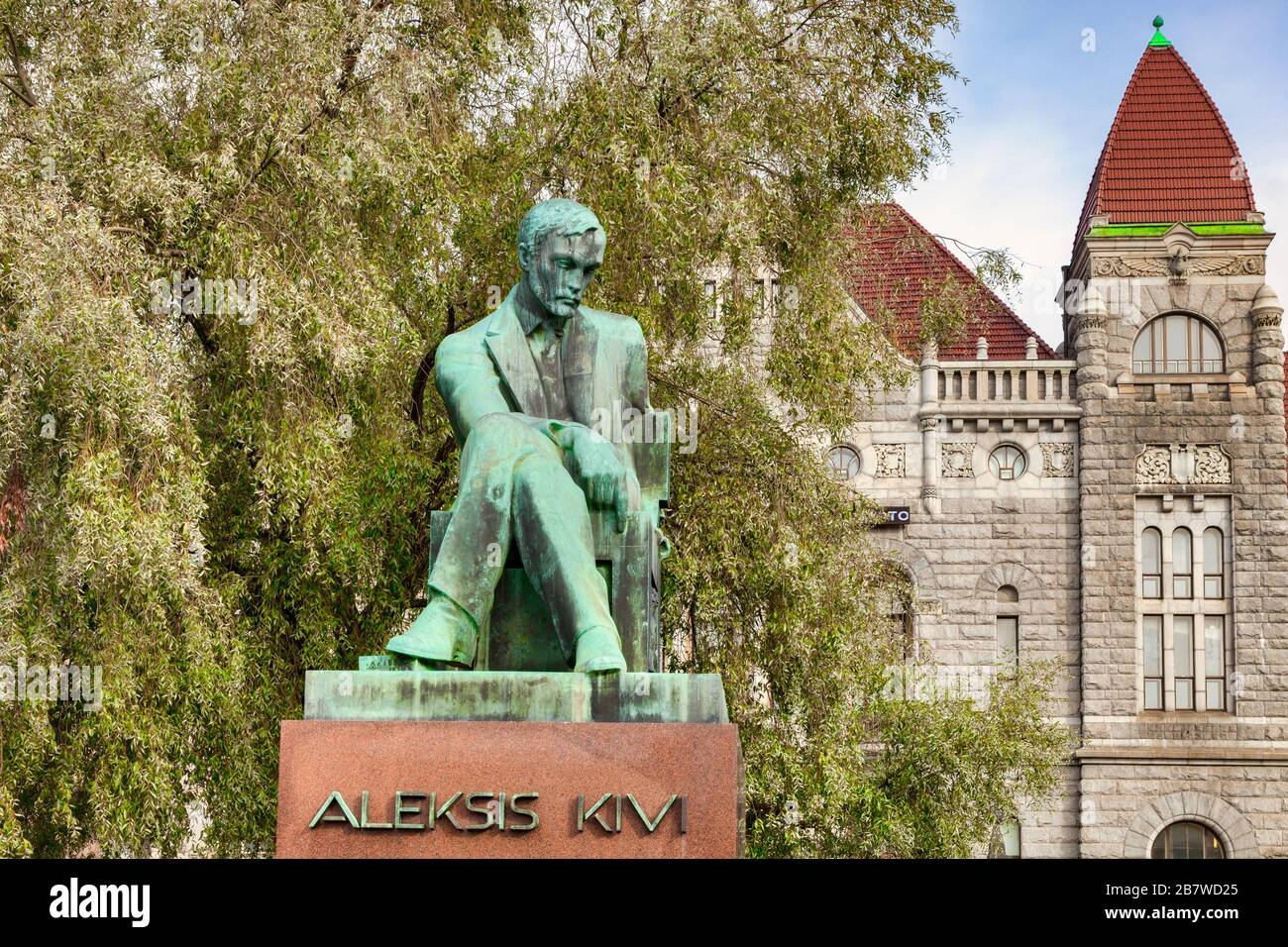 20 September 2018: Helsinki, Finland - Statue of Alexis Kivi, author,  who wrote the first significant novel in the Finnish language, Seven Brothers. Stock Photo