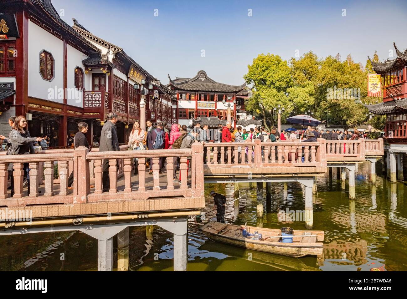 29 November 2018 - Shanghai, China  -  Crowds of visitors on the Nine Turn Bridge in the Yu Garden area of the Old Town, Shanghai. Stock Photo