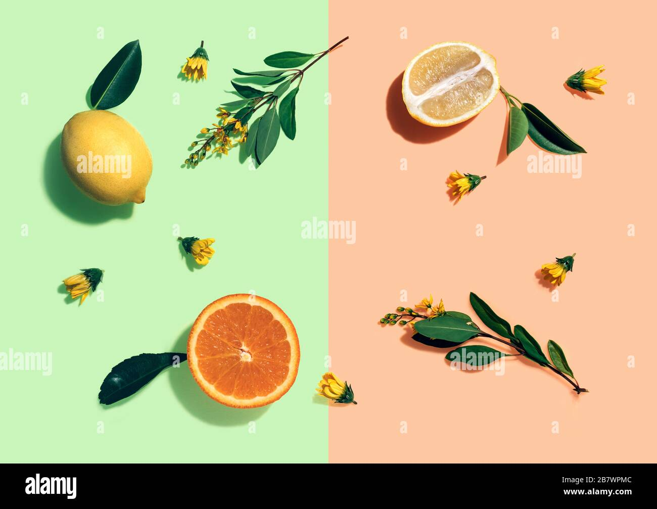 Lemon And Orange Whole And Cut Out Pieces And Yellow Flowers Pattern On Mint Green And Coral Background Flat Lay Top View Vitamin C Fruit Immunity Natural Health Concept Stock Photo