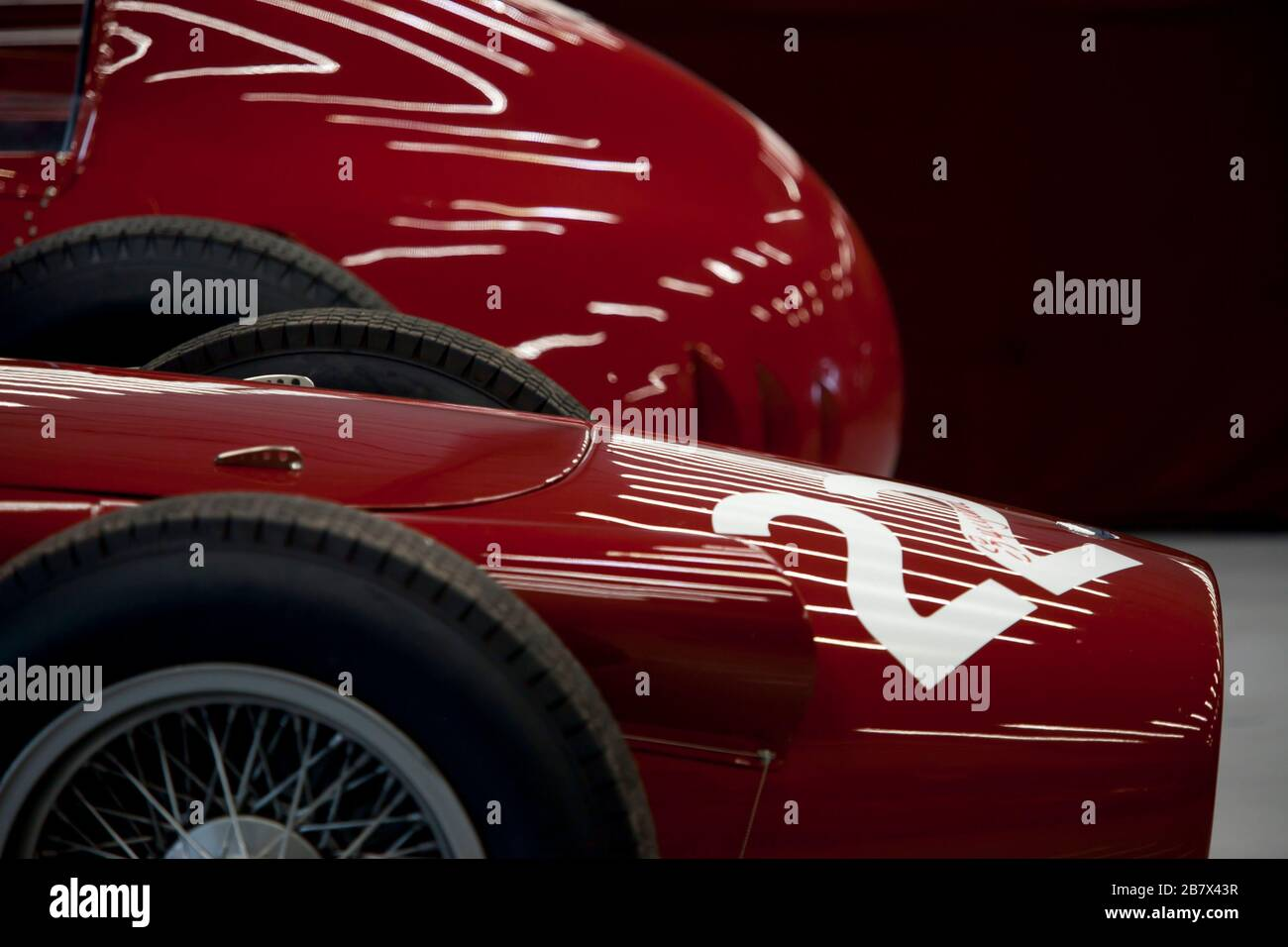 Classic red racing car no 22 Stock Photo