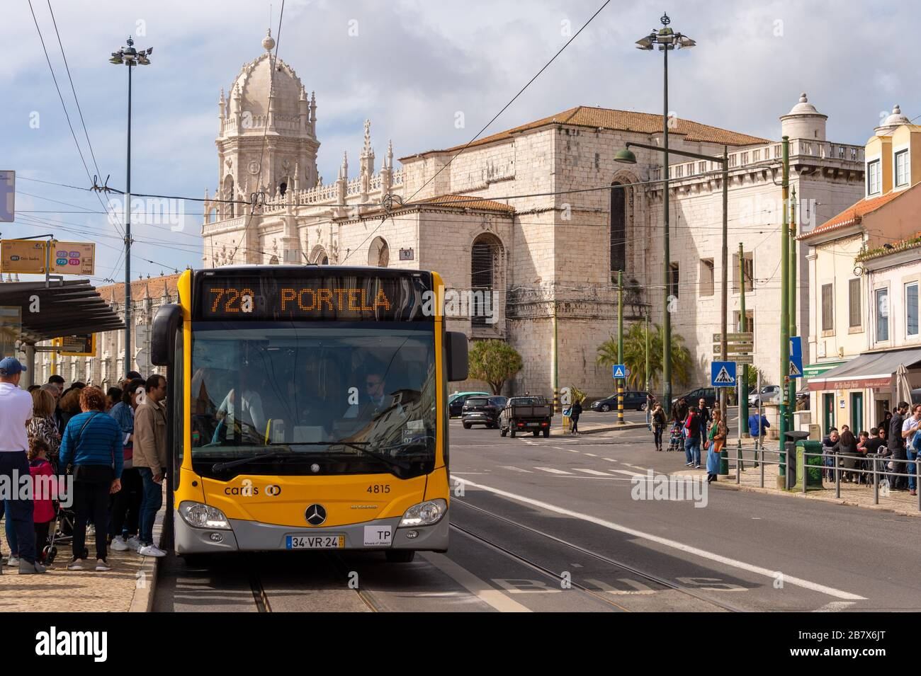 Lisbon, Portugal - 2 March 2020: Passengers boarding a Carris Bus at in the Belem district Stock Photo