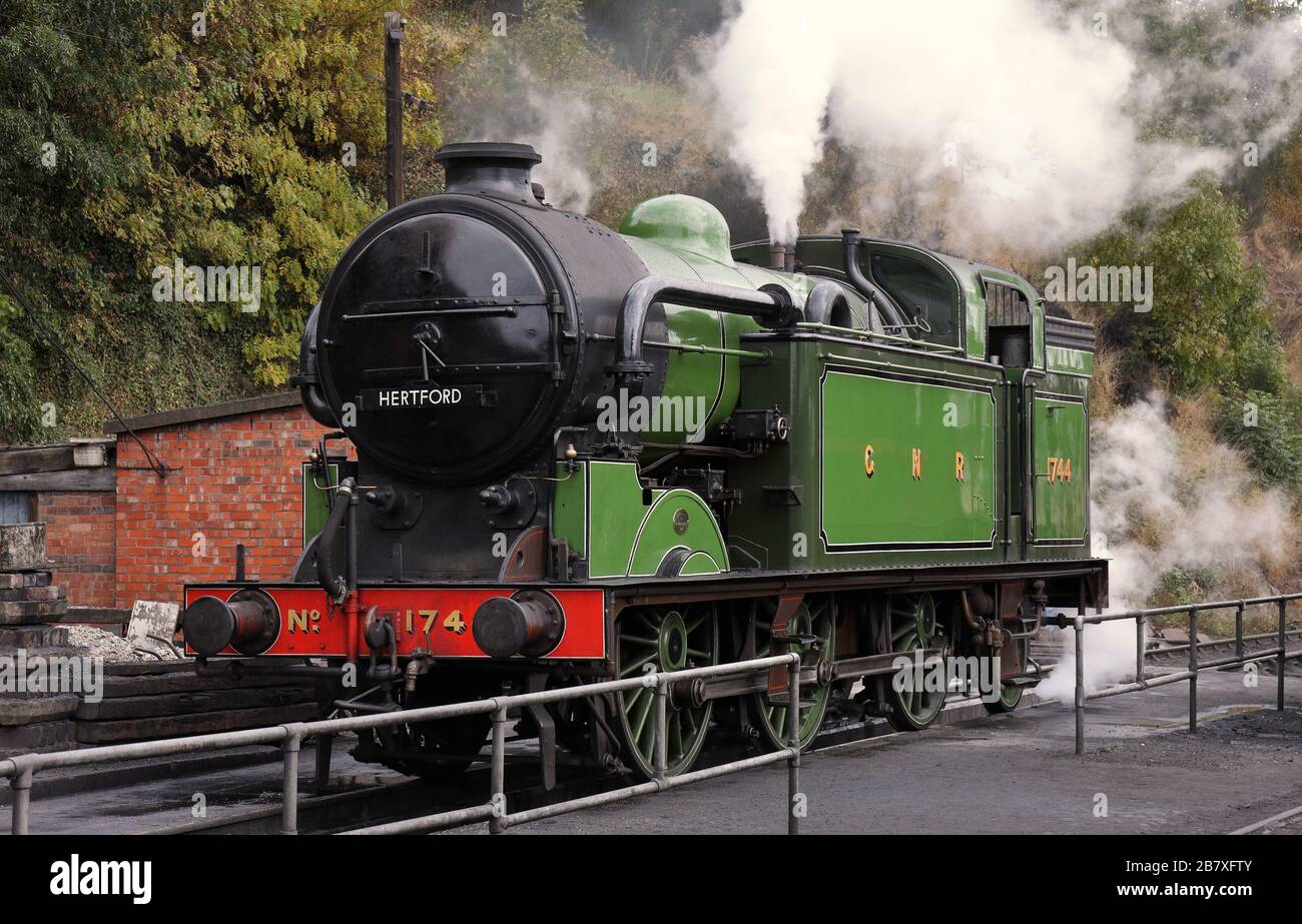The Age of Steam, Vintage Steam Locomotives on the Severn Valley Railway at Bewdley, Worcs. Stock Photo