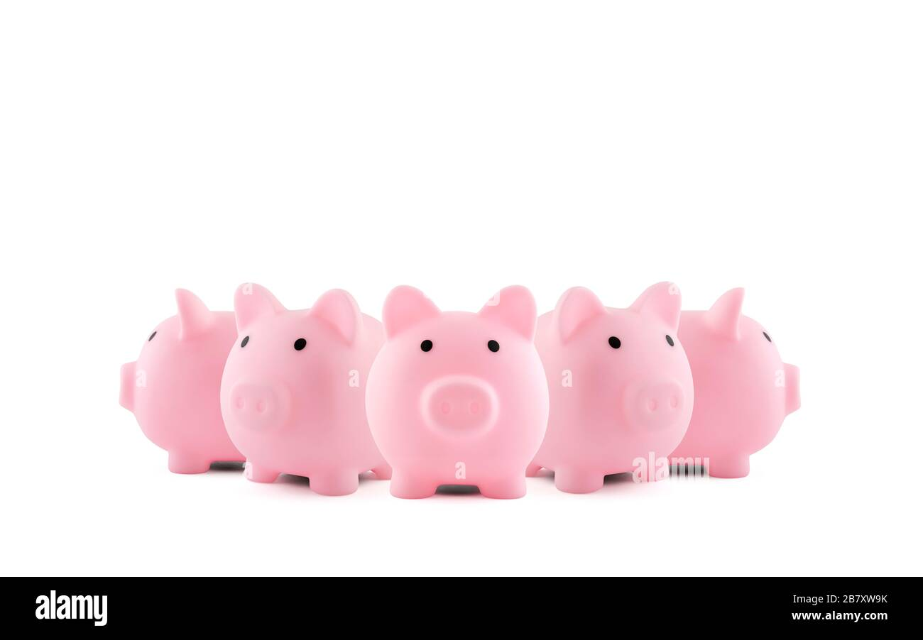 Group of pink piggy banks on white background Stock Photo