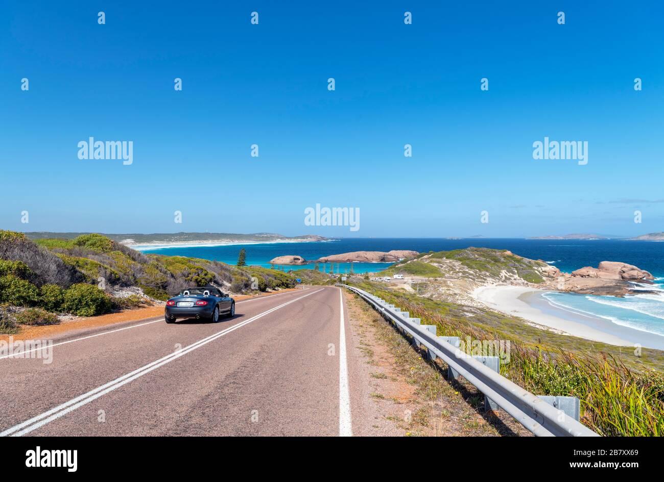 Car on the Great Ocean Drive near Twilight Beach, Esperance, Western Australia, Australia Stock Photo