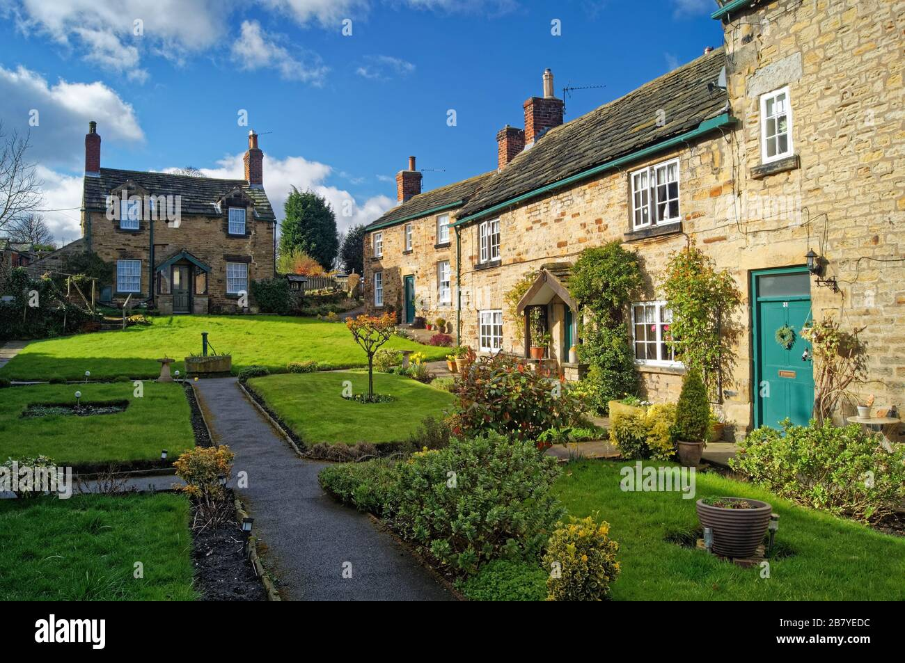 UK,South Yorkshire,Rotherham,Wentworth,Cottages in Paradise Square Stock Photo