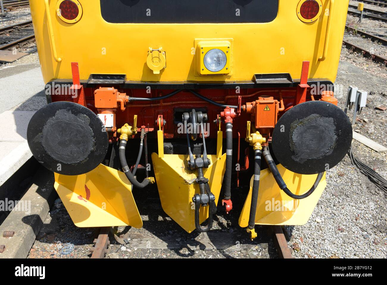 Close up of the buffer beam of a class 47 diesel locomotive in old livery from the 1980's parked at Temple Meads railway train station in Bristol, UK. Stock Photo