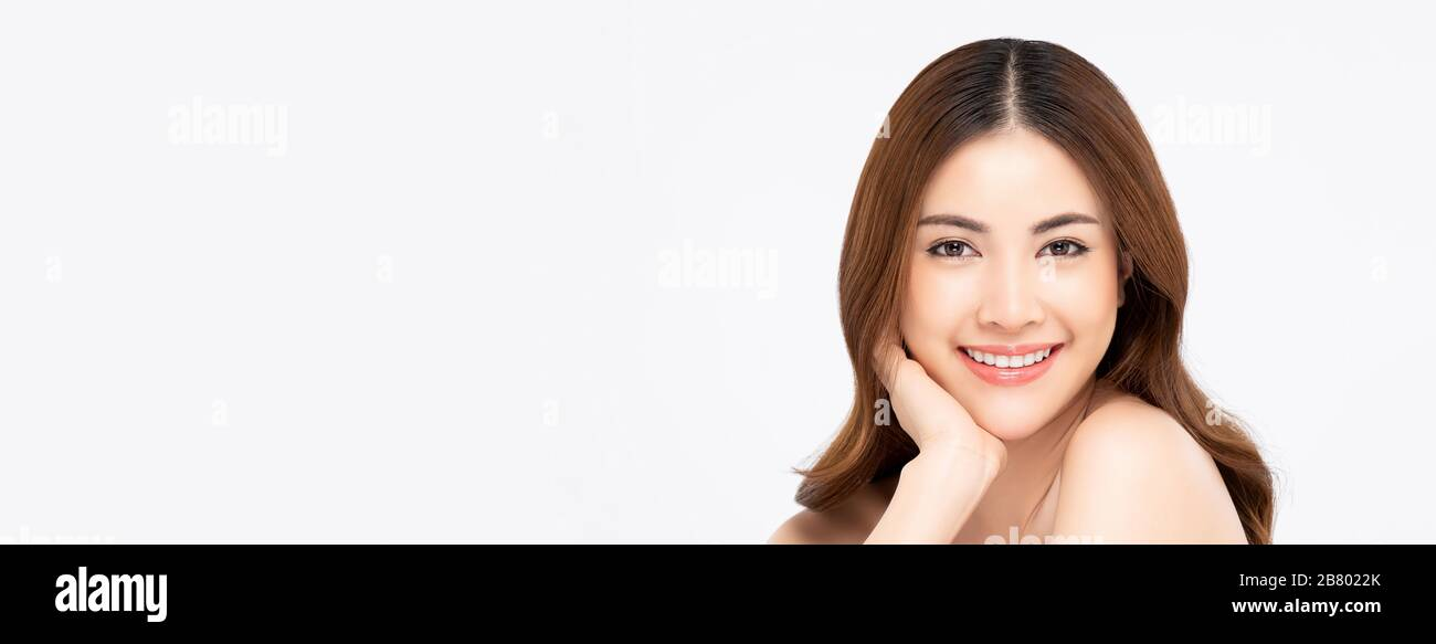 Youthful Smiling Asian Woman Isolated On White Banner Background For Beauty And Skin Care Concepts Stock Photo Alamy