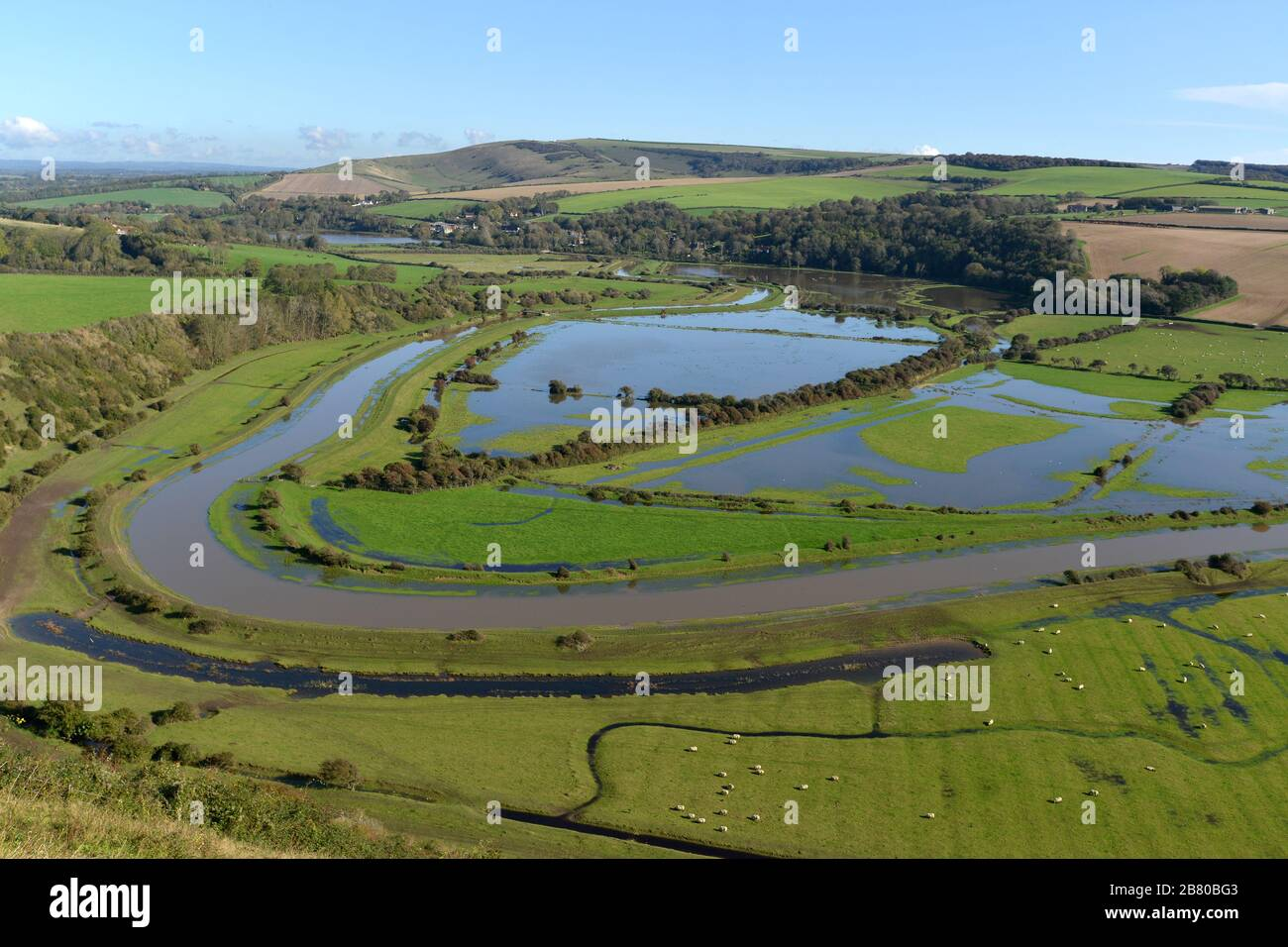 Flood plane of the Cuckmere Valley in the South Downs National Park, East Sussex, UK Stock Photo