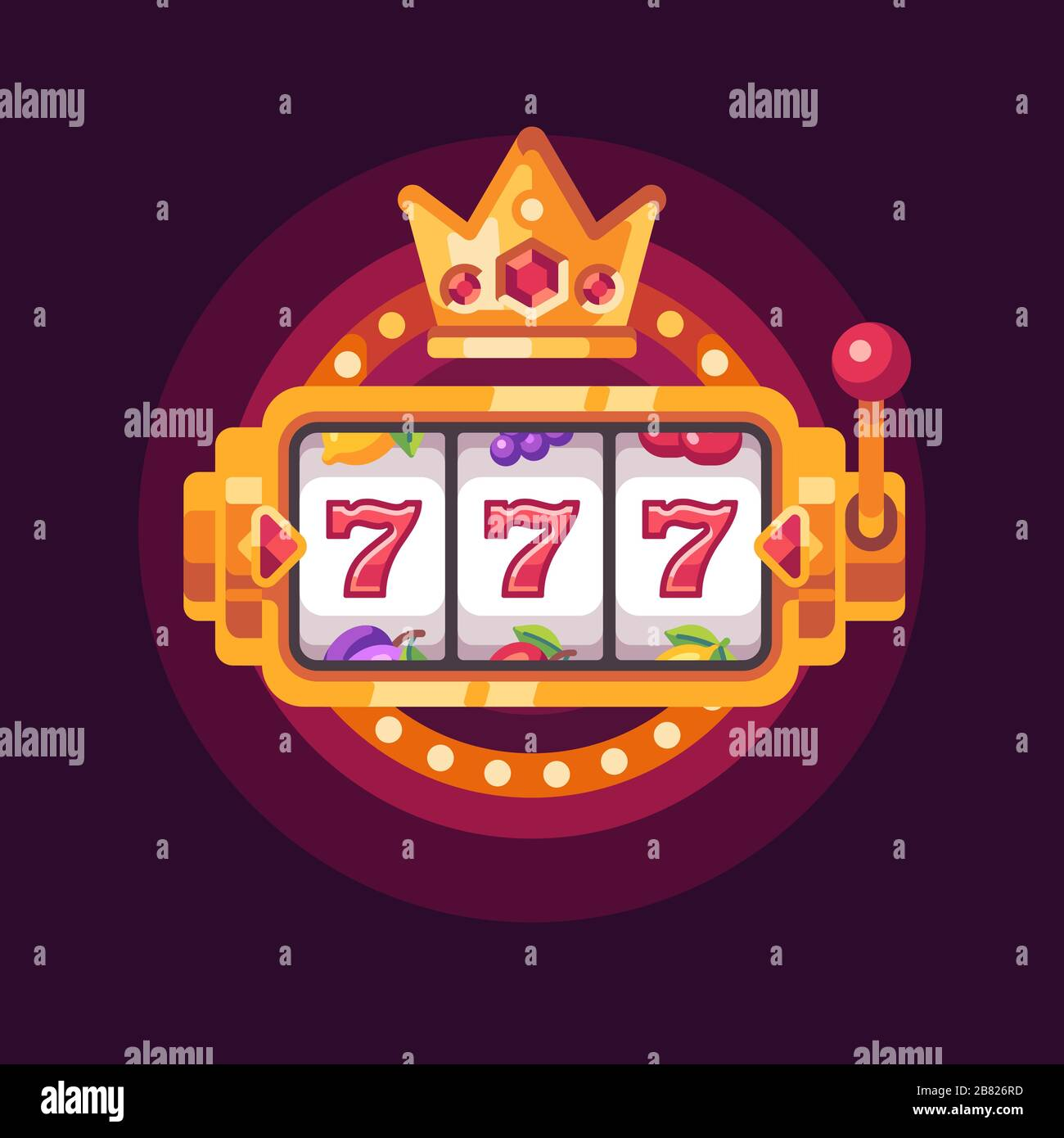 Slot Machine With A Golden Crown Casino 777 Win Flat Illustration Stock Vector Image Art Alamy