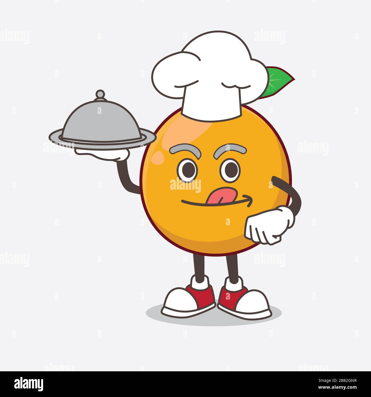 African Mangosteen Cartoon Mascot Character As A Chef With Food On