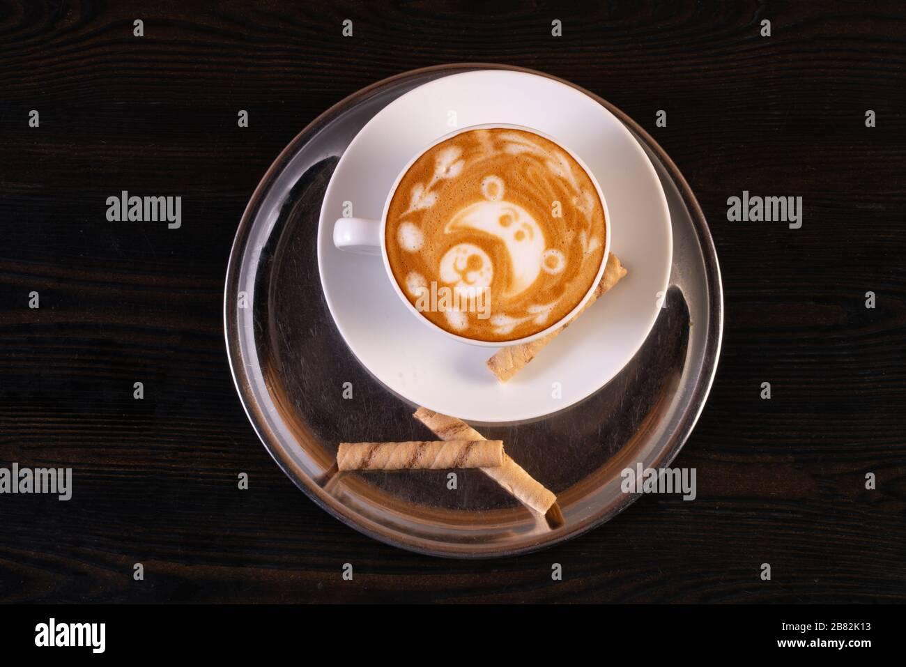 latte art on table Stock Photo