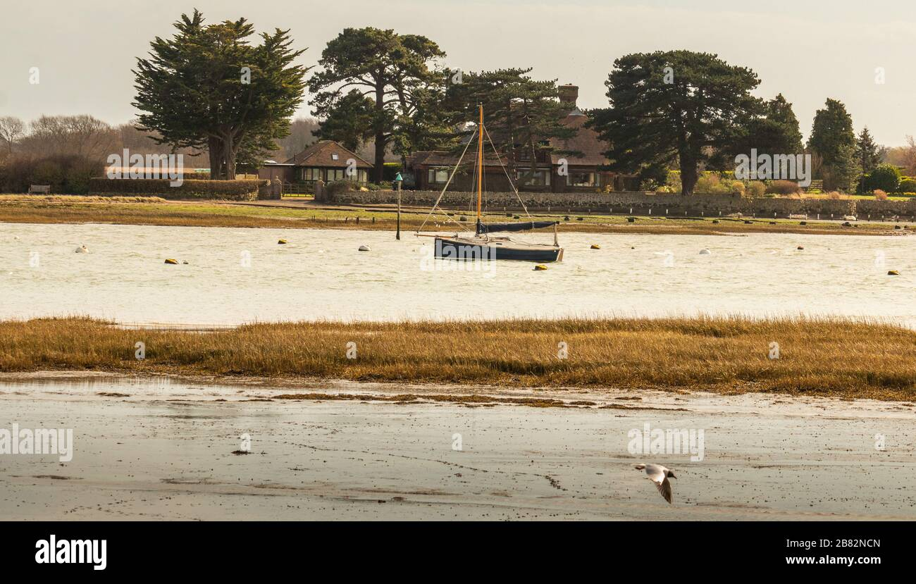 The Saltings Bosham from Chidham Seascapes West Sussex South Coast South Downs National Park Stock Photo