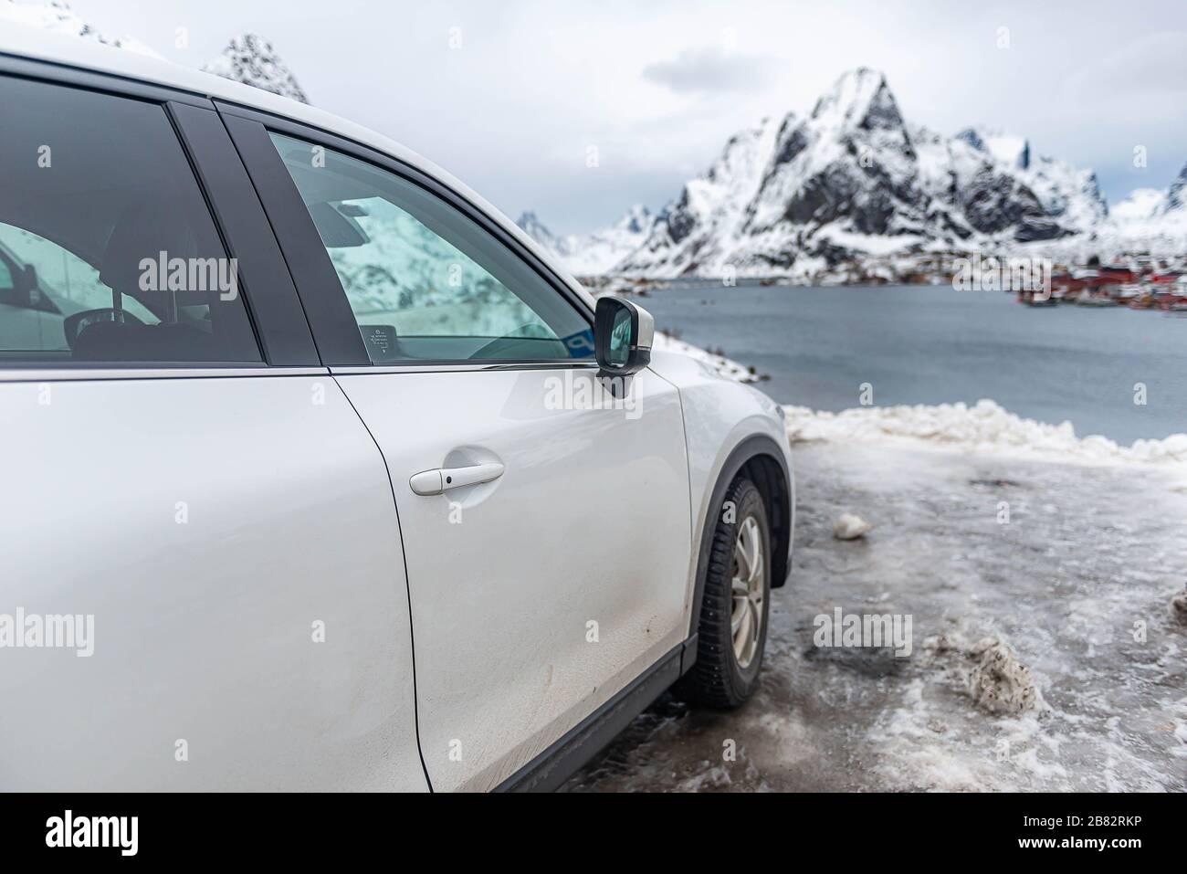 Traveler car parking to visit Reine view point in Lofotten Stock Photo
