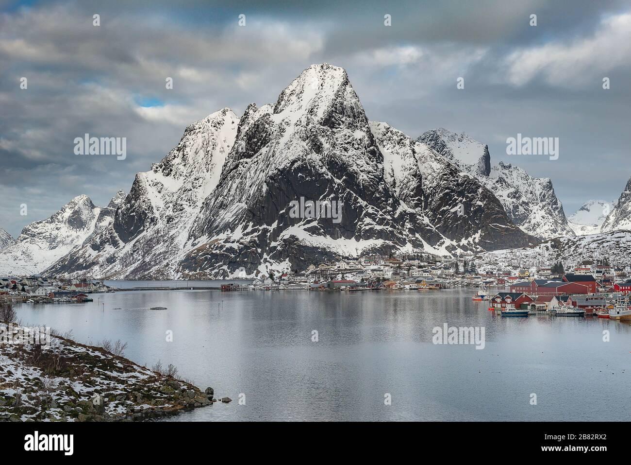 Reine is the most beautiful fisherman village in Lofoten , Norway Stock Photo