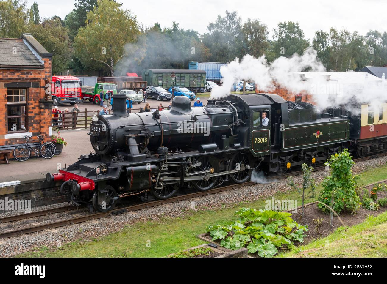 British Railways Standard Class 2 built at Darlington in 1953, 2-6-0 steam engine number 78018, Great Central Railway, Quorn, Leicestershire, England, Stock Photo