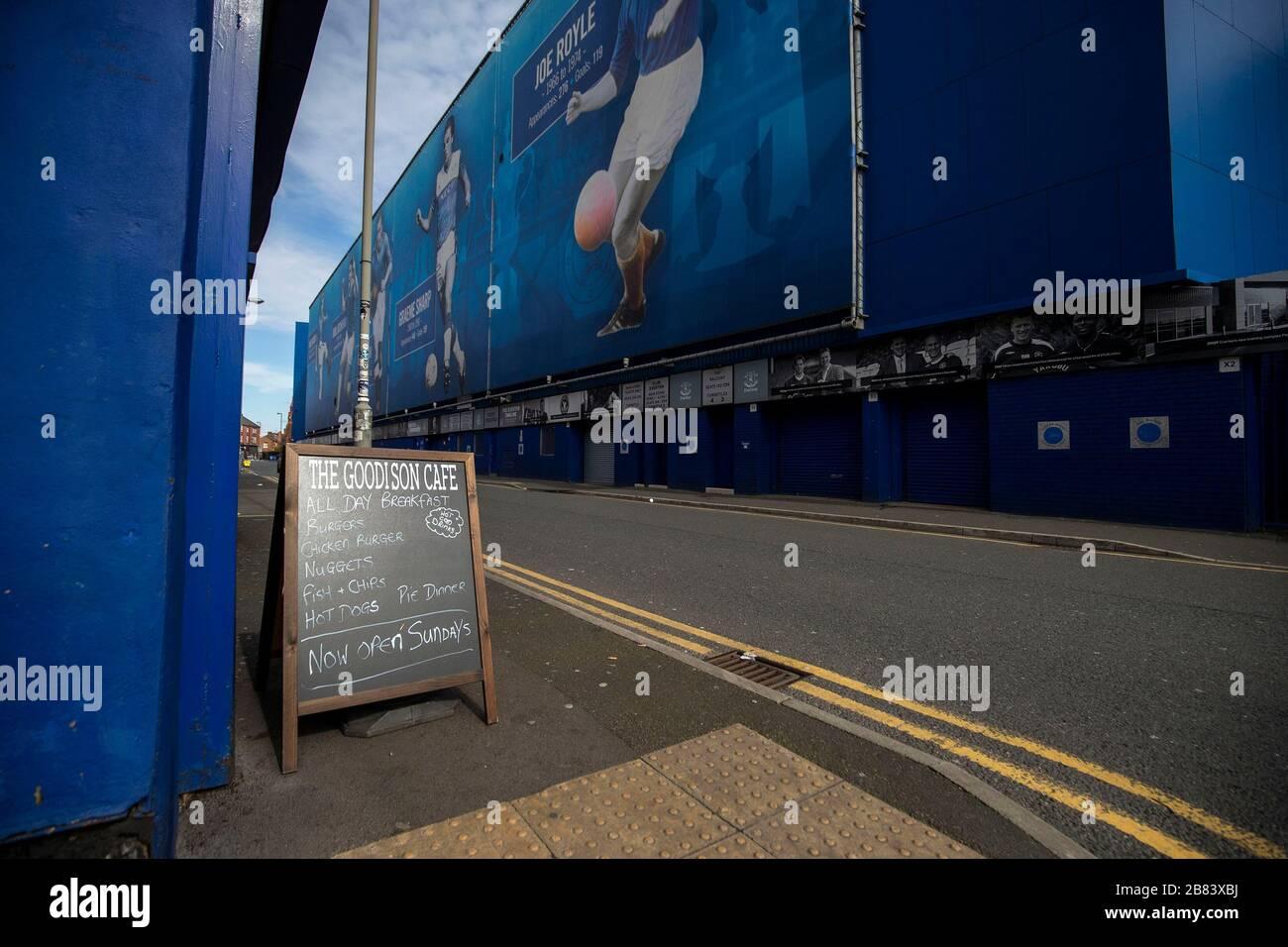Everton Football club and surrounding business during the Coronavirus outbreak Stock Photo