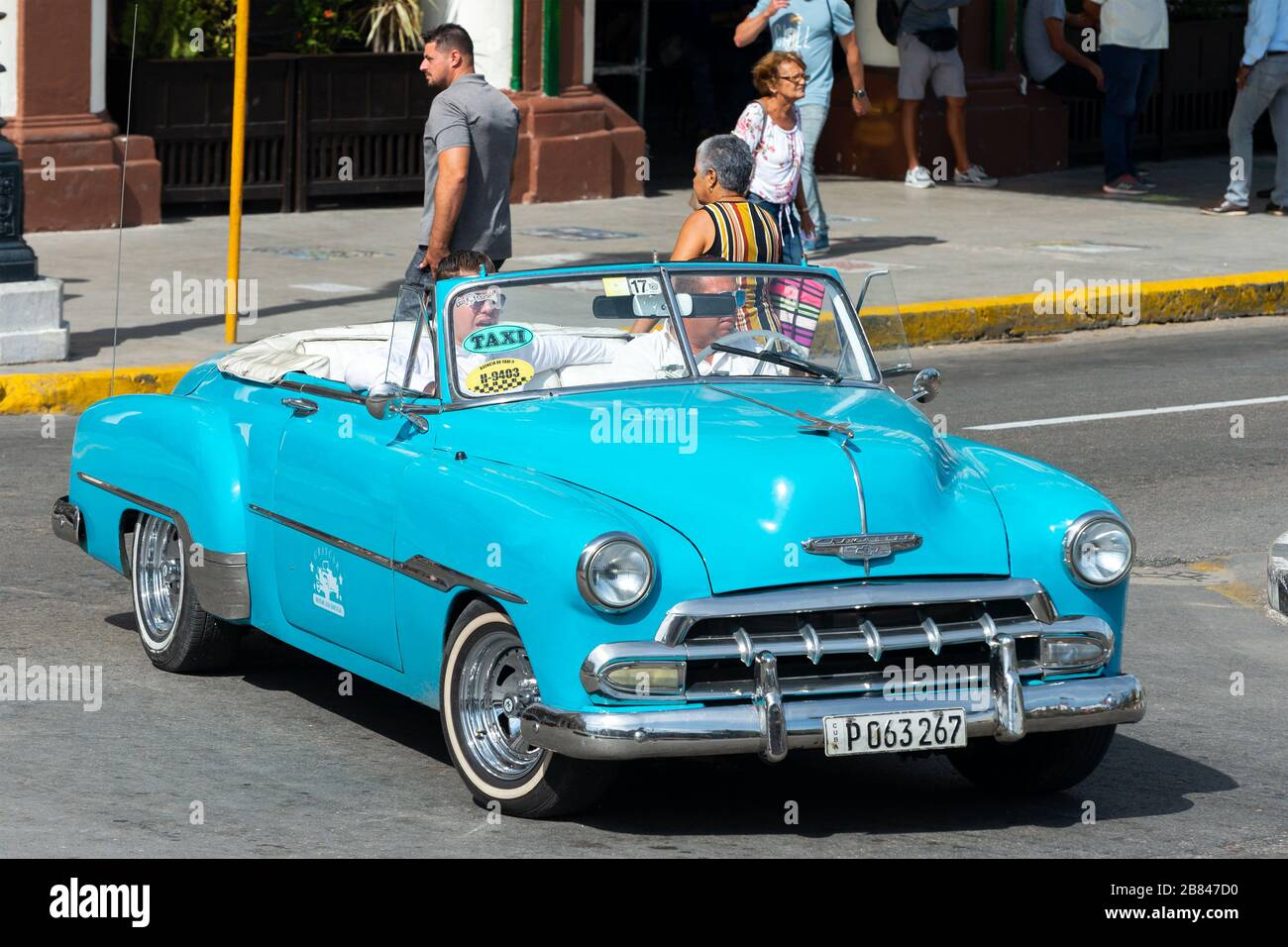 Chevrolet Classic Car In Light Blue Cyan Color In Havana Cuba Downtown Offering Taxi And Tour Services Chrome Plated Details Vehicle In La Habana Stock Photo Alamy