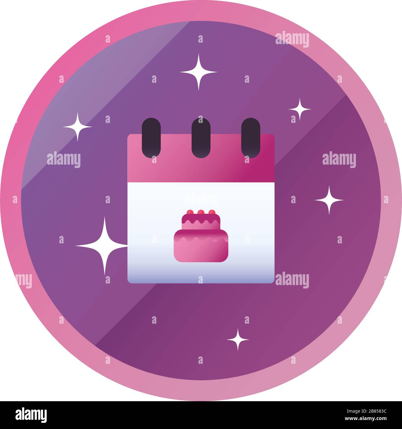Sweet cake inside calendar gradient style icon design, dessert food delicious sugar snack and tasty theme Vector illustration Stock Vector