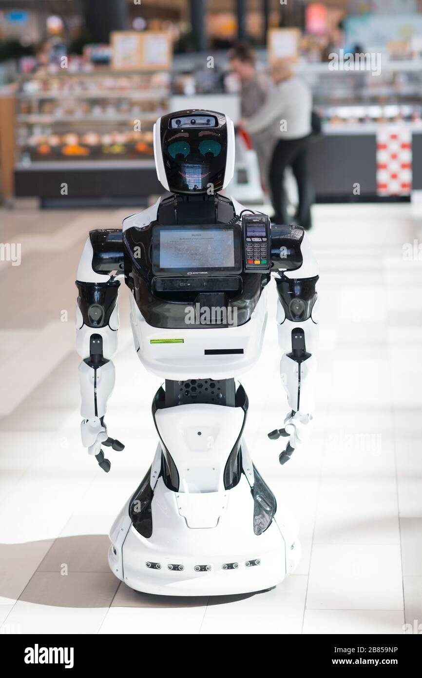 Robot informant in the store Stock Photo