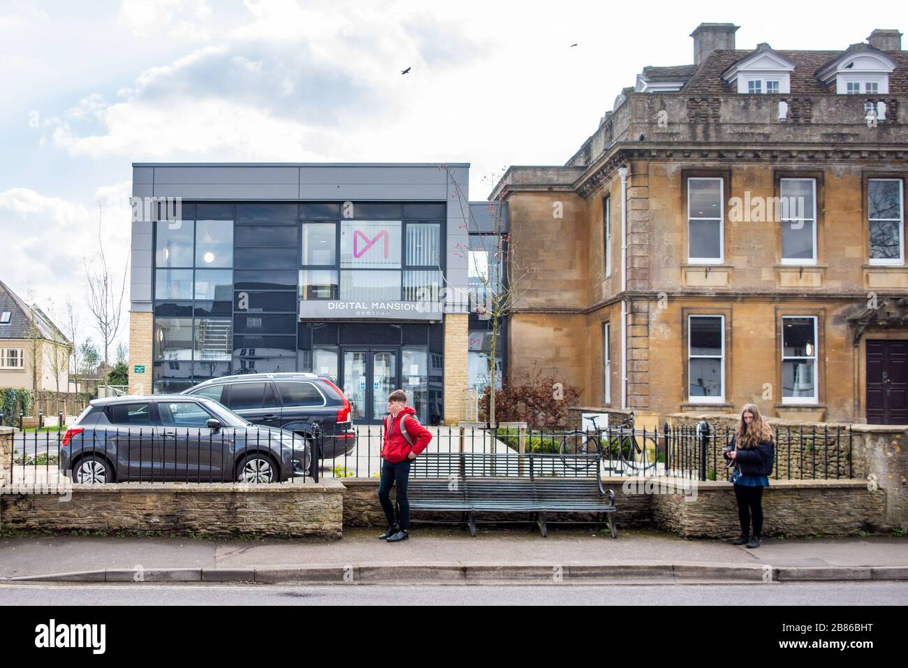 The modern architecture extension onto a listed building forming part of the Digital Mansion work environment in Corsham Wiltshire Stock Photo