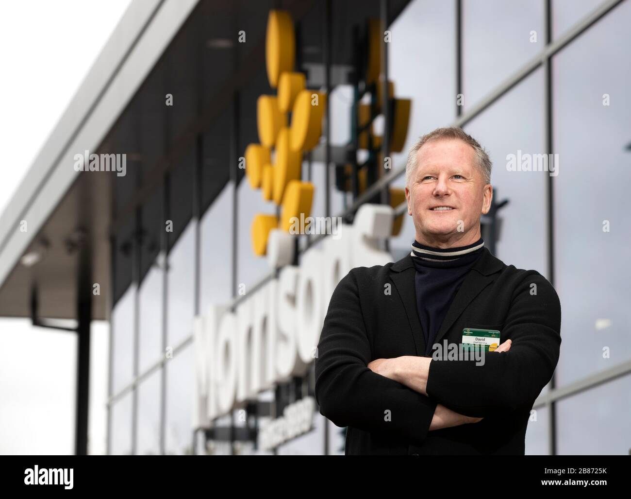 Morrisons CEO David Potts at the Morrisons St Ives Store in Cambridgeshire. Stock Photo