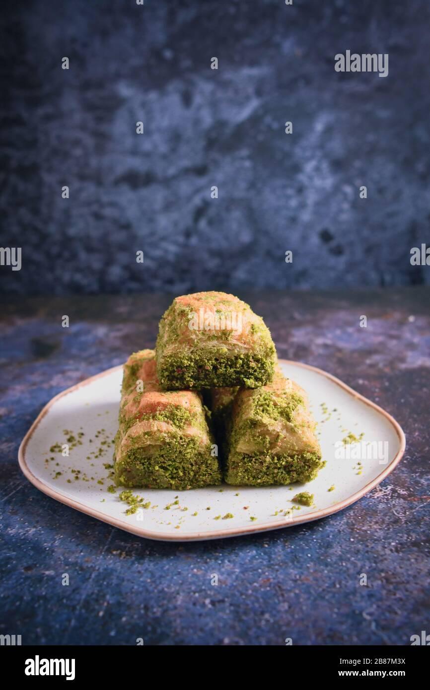 Walnut, Pistachio Turkish Style Antep Baklava Presentation. Baklava from Turkish cuisine Stock Photo