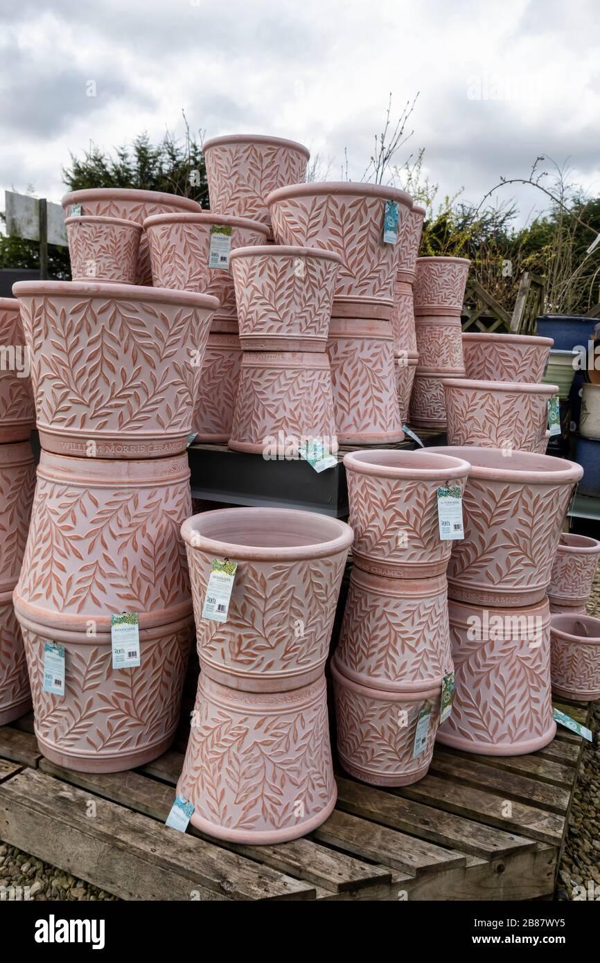 Decorative terracotta garden pots for sale at a Garden Centre in