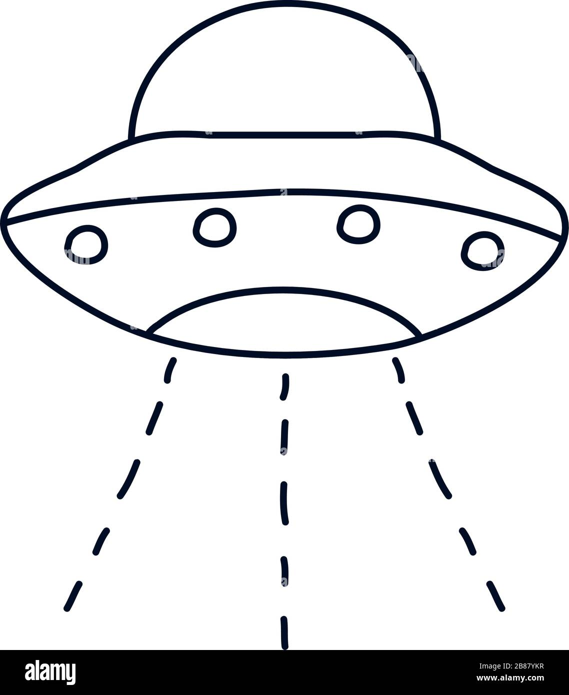Flying Saucer Icon Over White Background Minimalist Tattoo Concept Line Style Vector Illustration Stock Vector Image Art Alamy