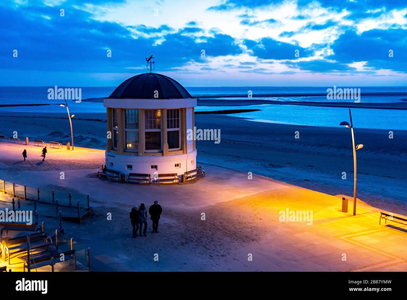 Beach promenade, music pavilion, , west beach, beach walk, beach, island, East Frisia, winter, season, autumn, Lower Saxony, Germany, Stock Photo