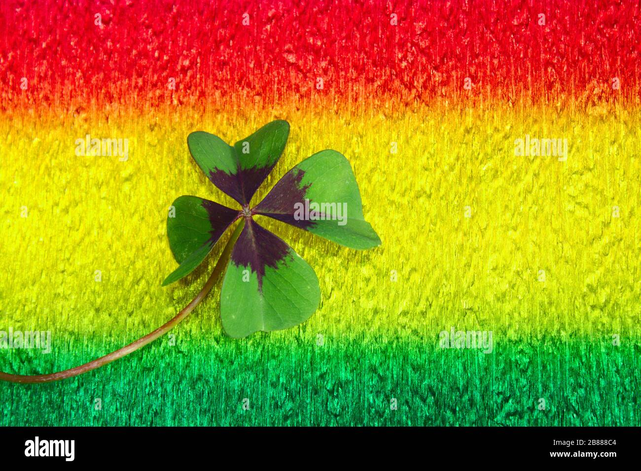 The picture shows lucky clover on colorful crepe paper Stock Photo