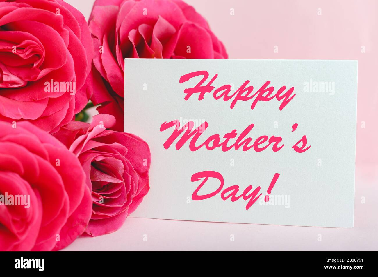 Happy Mothers Day Text On Gift Card In Flower Bouquet Of Pink Roses On Pink Background Greeting Card For Mom Flower Delivery Congratulations Card Stock Photo Alamy