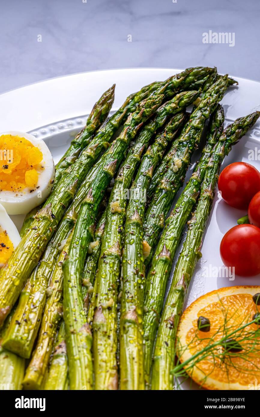 Asparagus spears, side dish. Stock Photo