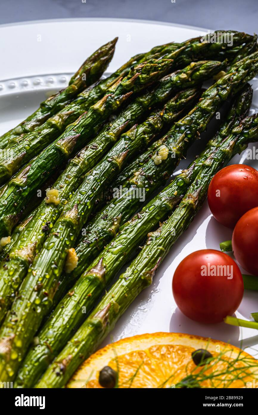 Asparagus spears, side dish. Stock Photo