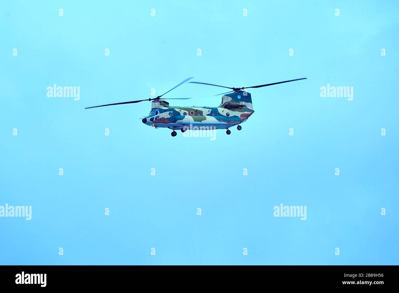 Japan Air Self-Defence Force, JASDF CH-47J, Boeing CH-47 Chinook,  Transport Helicopter, Naha Air Base, Naha, Okinawa, Ryukyu Islands, Japan Stock Photo