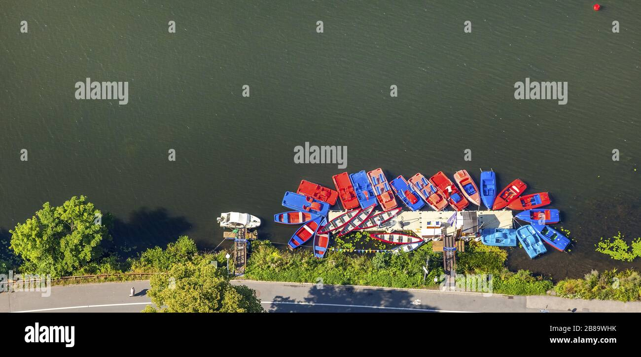 , pedal boat rental at lake Ketwiger See in river Ruhr, 26.07.2015, aerial view, Germany, North Rhine-Westphalia, Ruhr Area, Essen Stock Photo